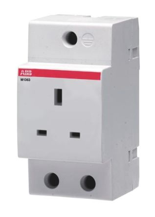 ABB 1 Gang Unswitched Electrical Socket, Type G - British, 13A, DIN Rail Mount, IP20, IP30