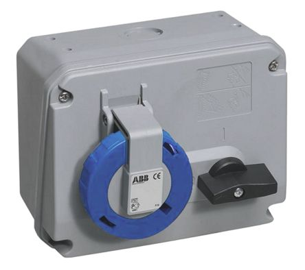 ABB Horizontal Switchable IP67 Interlocked Socket 2P+E, 63A, 200 → 250 V