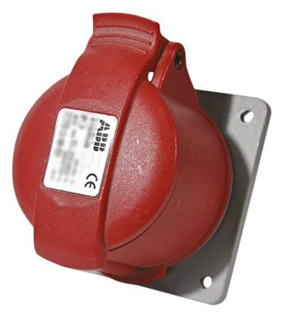 ABB Easy & Safe Series, IP44 Red Panel Mount 3P+N+E Industrial Power Socket, Rated At 16A, 346 → 415 V