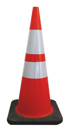 RS PRO Weighted Black, Orange, White 700mm PVC, Rubber Traffic Cone