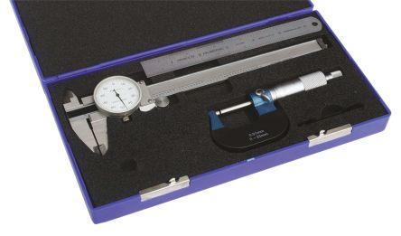 RS PRO Metric & Imperial Dial Caliper, Micrometer, Rule Measuring Set
