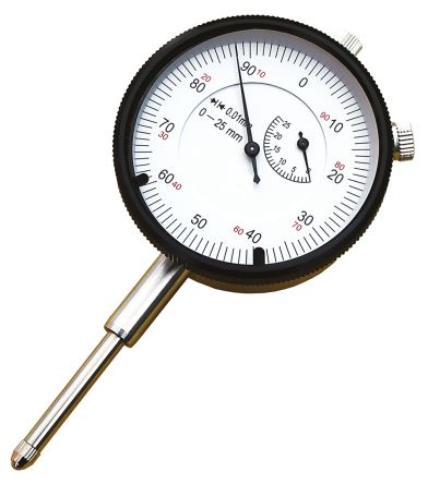 RS PRO Plunger Dial Indicator, Range Maximum of 0.5 in With UKAS Calibration