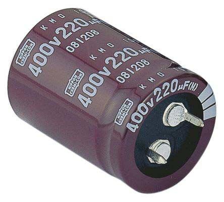 Capacitor 390uF 450V of 3 Nippon Chemi-Con P# EKMQ451VSN391MA40S Snap In
