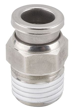 SMC Pneumatic Straight Threaded-to-Tube Adapter, NPT 3/8 Male, Push In 5/16 in