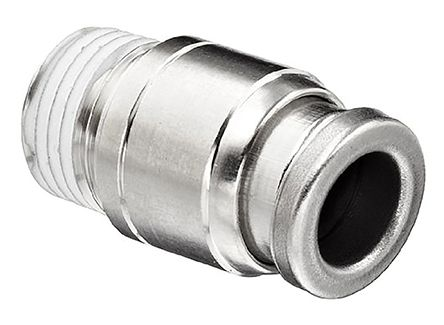 SMC Pneumatic Straight Threaded-to-Tube Adapter, NPT 1/8 Male, Push In 1/4 in