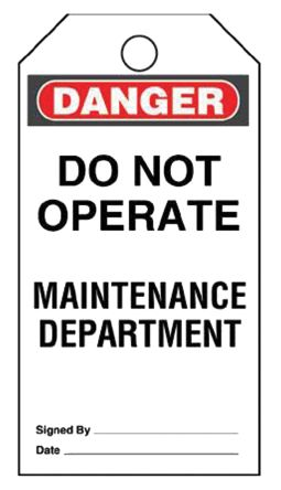 5 x 'Do Not Operate Maintenance Department' Lockout Tag, 3 x 3 x 5.75in product photo