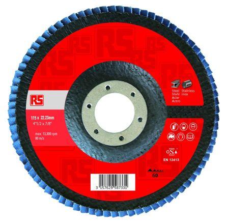 RS Pro Zirconia Aluminium Medium Flap Disc, P60 Grit, 13300rpm, 125mm x 22mm Bore
