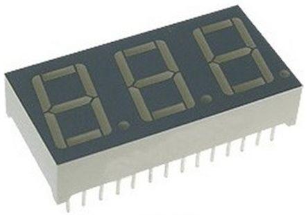 BC56-11SYKWA 3 Digit 7-Segment LED Display, CC Yellow 120 mcd RH DP 14.2mm product photo
