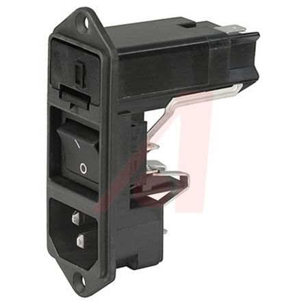 Schurter C14 Snap-In IEC Connector Male, 10A, 125 V ac, 250 V ac, Fuse Size  5 x 20 mm, 6 3 x 32 mm