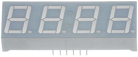 CC56-21SURKWA 4 Digit 7-Segment LED Display, CC Red 72 mcd RH DP 14.2mm product photo