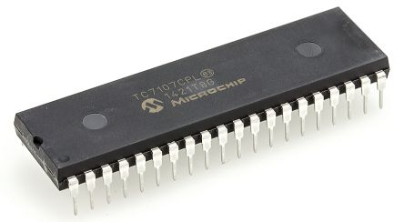 Microchip TC7107CPL, 3.5 digit BCD Output ADC Differential, Single Ended Input, 40-Pin PDIP