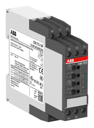 ABB Temperature Monitoring Relay with SPDT Contacts, 3 Phase, 24 → 240 V ac/dc