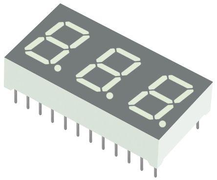 BA04-11CGKWA 3 Digit 7-Segment LED Display, CA Green 25 mcd RH DP 10.2mm product photo