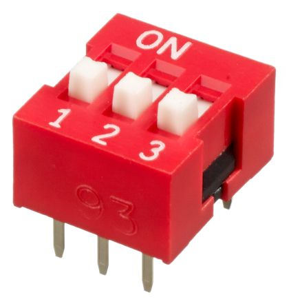 3 Way Through Hole DIP Switch SPST, Raised Actuator