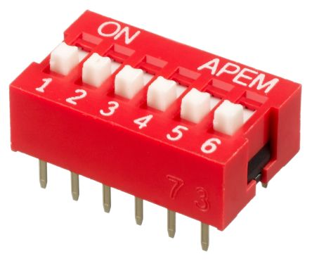 6 Way Through Hole DIP Switch SPST, Raised Actuator