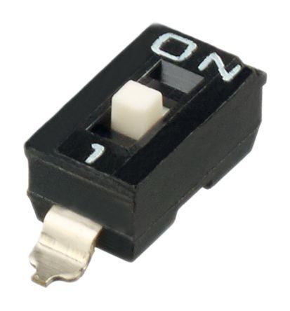 1 Way Surface Mount DIP Switch SPST, Raised Actuator Slide Actuator