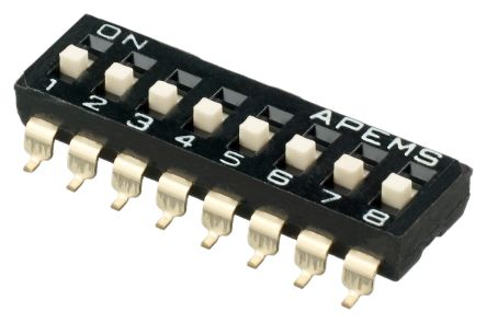 8 Way Surface Mount DIP Switch SPST, Raised Actuator Slide Actuator
