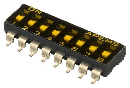 8 Way Surface Mount DIP Switch SPST, Recessed Actuator Slide Actuator