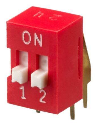2 Way Through Hole DIP Switch SPST, Raised Actuator product photo