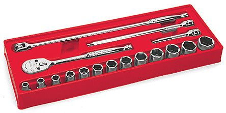 Snap-on 317MSPC, 17 Pieces Ratchet Socket Set 1/2 in 6 Point Socket Drive