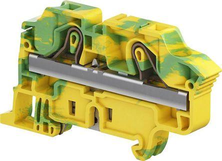 Entrelec Standard Din Rail Terminal, ZK10 Series , 10mm², Spring Clamp Termination, Green, Yellow, Single Level