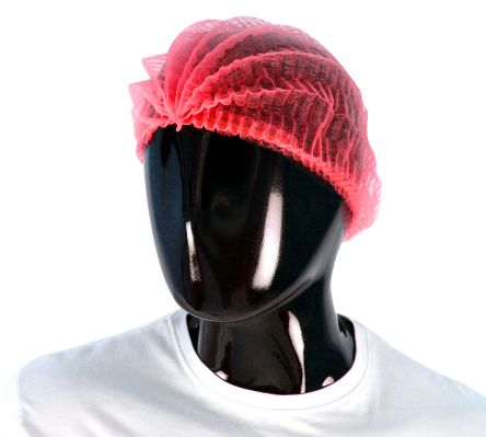 PAL Disposable Red Hair Cap, One Size, for Food Industry Use
