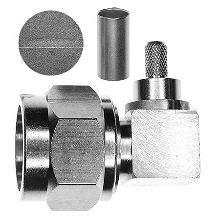 50O Right Angle Cable Mount N Connector, Plug, Crimp Termination, 0 -> 11GHz product photo
