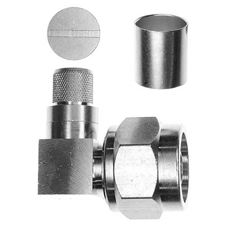 50O Right Angle Cable Mount N Connector, Plug, Crimp Termination, 0 -> 11GHz, RG214, RG9 product photo