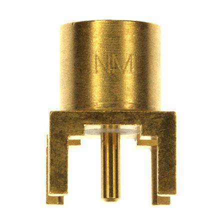 Straight 50O PCB Mount RF Adapter, jack, Gold, Through Hole Termination product photo