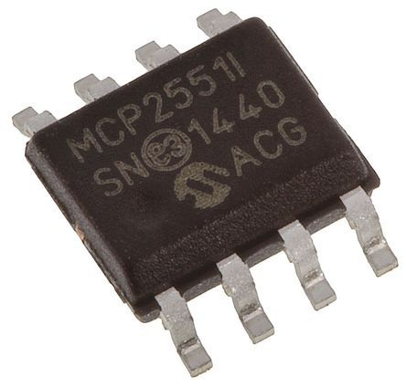 Microchip MCP2551-I/SN, CAN Transceiver 1Mbit/s 1-Channel ISO 11898, 8-Pin SOIC