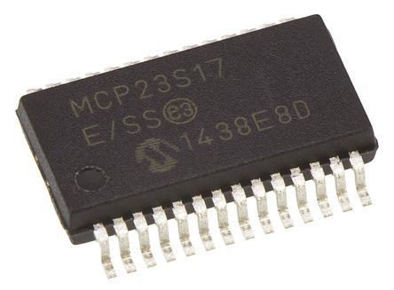 Microchip MCP23S17-E/SS, 16-Channel I/O Expander 5MHz, Serial-SPI, 28-Pin SSOP