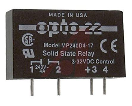 mp240d4 17 opto 22 4 a solid state relay, ac, pcb mount, 240 v ac