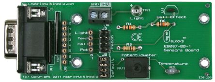 Matrix EB067, E-block Hall Effect Sensor, Light Sensor, Temperature Sensor Development Board