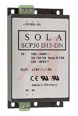 SolaHD DIN Rail Power Supply, 15V dc Output Voltage, 1A output current