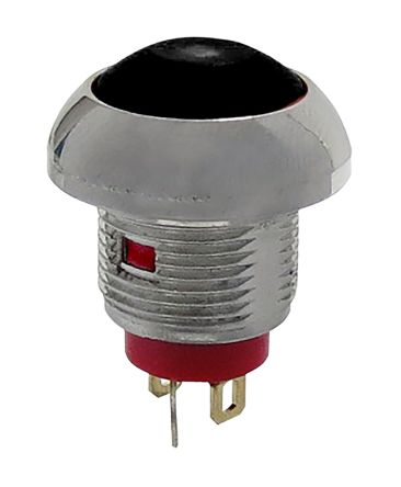 RS PRO Single Pole Single Throw (SPST) Momentary Red LED Miniature Push Button Switch, IP67, 13.6 (Dia.)mm, Threaded,