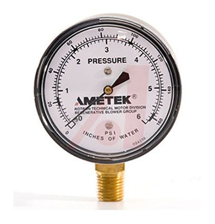 Ametek 271950 Vacuum Gauge, Maximum Pressure Measurement 0.4bar, Gauge Outside Diameter 63.5mm, Connection Size 1/4 NPT