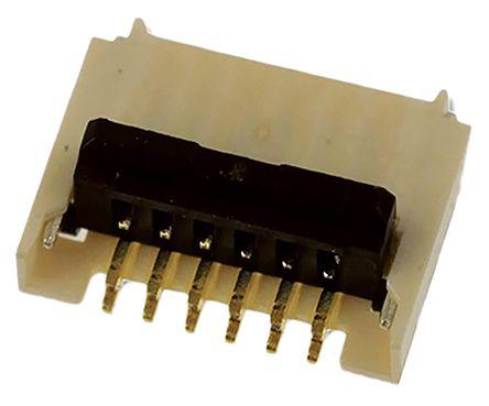 Molex Easy On 503480 Series 0.5mm Pitch 6 Way Right Angle SMT Male FPC Connector, Top and Bottom Contact