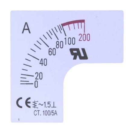 Escala de medidor RS Pro SC48-80F2-90-RS, para uso con Amperímetro de 48x48