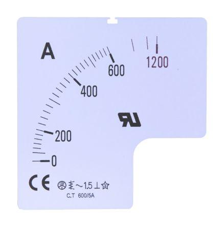 Escala de medidor RS Pro SC72-50F2-90-RS, para uso con Amperímetro de 72x72