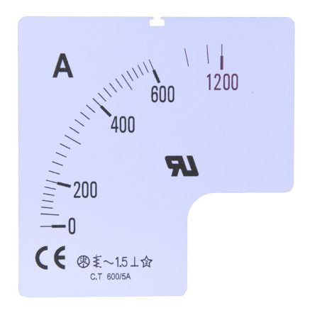 100A Meter Scale SC72-100F2-90-RS for use with 72x72 Ammeter product photo