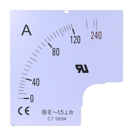 Escala de medidor RS Pro SC96-60F2-90-RS, para uso con Amperímetro de 96x96