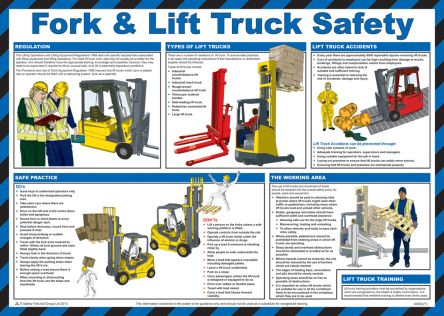 RS Pro Fork and Lift Truck Safety Guidance Safety Poster, Semi Rigid Laminate, English, 420 mm, 590mm