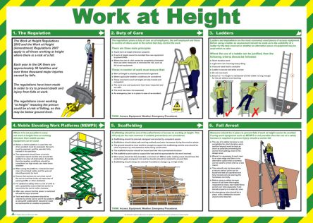 RS Pro Working At Height Safety Guidance Safety Poster, Semi Rigid Laminate, English, 420 mm, 590mm