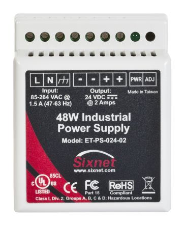 Red Lion, Sixnet Automation DIN Rail Power Supply, 24V dc Output Voltage, 0  → 2A output current