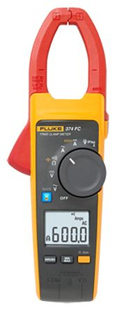 374 FC Clamp Meter, Max Current 2.5 (Probe) kA ac, 600 (Jaw) A ac, 600A dc CAT III 1000 V, CAT IV 600 V product photo