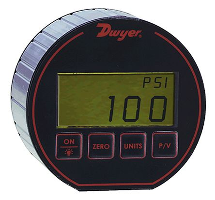 DWYER INSTRUMENTS Bottom Entry Digital Pressure Gauge, DPG-106