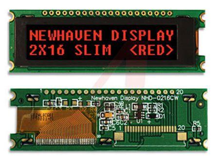 Display LCD En Color NEWHAVEN DISPLAY INTERNATIONAL, Retroiluminación LED, Interfaz Paralelo De 4/8, NHD-0216CW-AR3