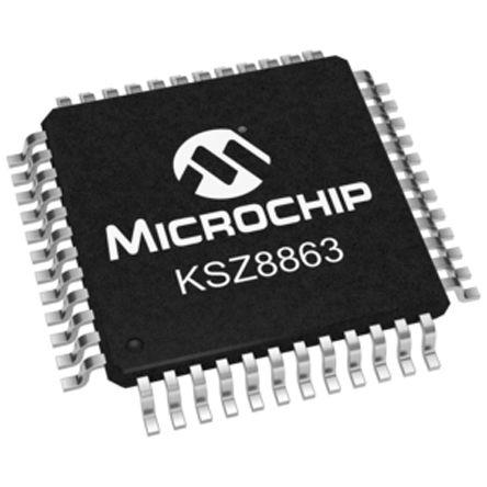 Microchip KSZ8863MLL Ethernet Switch, MII/RMII, 10 Mbps, 100 Mbps 1.8 V, 3.3 V, 48-Pin LQFP