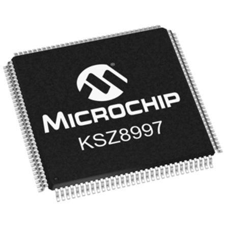 Microchip KSZ8997 Ethernet Switch, MII, 10 Mbps, 100 Mbps 2.1 V, 3.3 V, 128-Pin PQFP