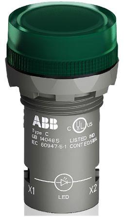 ABB Green LED Pilot Light, 22.3mm Cutout, IP66, IP67, IP69K, Round, 24 V ac/dc, 16 mA